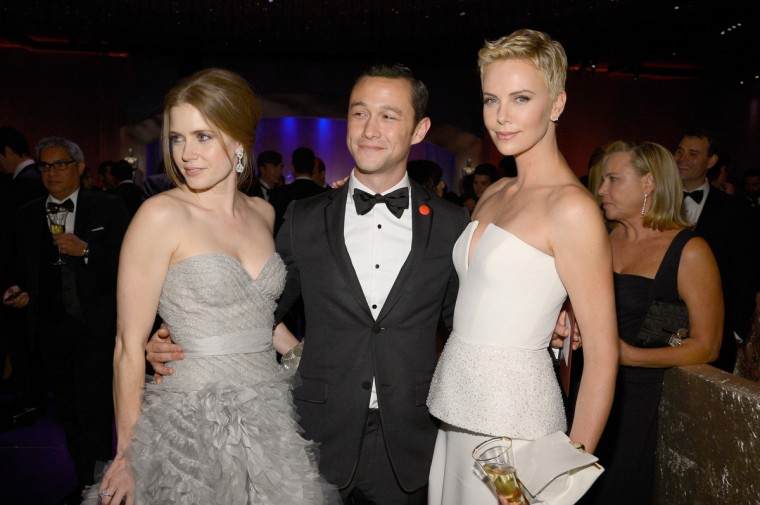 (L-R) Actors Amy Adams, Joseph Gordon-Levitt, and Charlize Theron attend the Oscars Governors Ball at Hollywood & Highland Center on February 24, 2013 in Hollywood, California. (Kevork Djansezian/Getty Images)