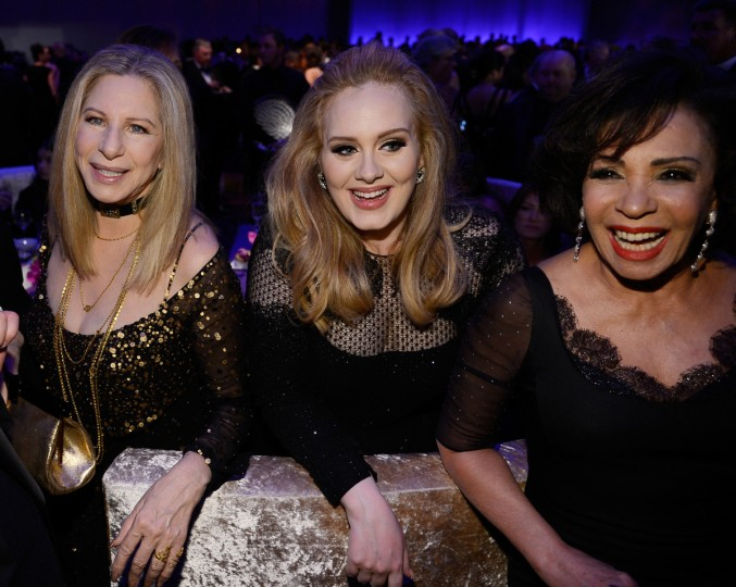 Singers Barbra Streisand, Adele, winner of the Best Original Song award for 'Skyfall,' and Shirley Bassey attend the Oscars Governors Ball at Hollywood & Highland Center on February 24, 2013 in Hollywood, California. (Kevork Djansezian/Getty Images)