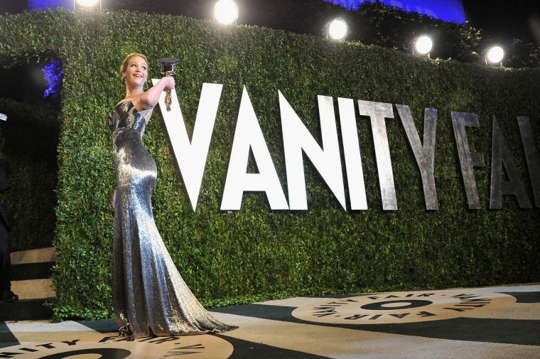 Actress Jennifer Lawrence arrives at the 2013 Vanity Fair Oscar Party hosted by Graydon Carter at Sunset Tower on February 24, 2013 in West Hollywood, California. (Pascal Le Segretain/Getty Images)