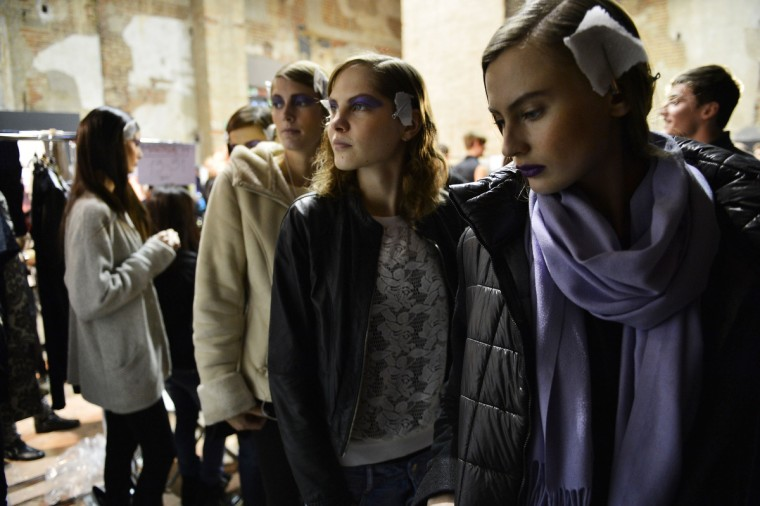 A models look backstage at the Massimo Rebecchi fashion show as part of Milan Fashion Week Womenswear Fall/Winter 2013/14 in Milan, Italy. (Tullio M. Puglia/Getty Images)