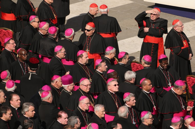Archbishops (purple hats) and cardinals (red hats) wait in St Peter's Square before Pope Benedict XVI's final weekly public audience on February 27, 2013 in Vatican City, Vatican. (Oli Scarff/Getty Images)