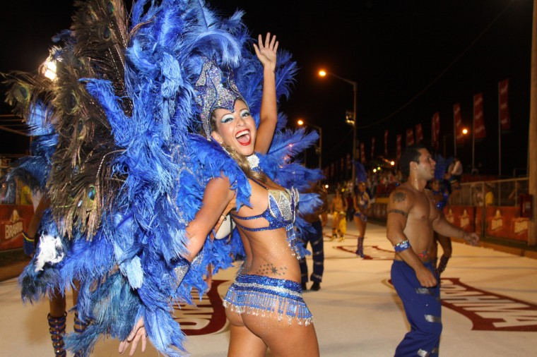 Dancers participate in a carnival 2013 parade in Encarnacion, 375 km south of Asuncion on January 18, 2013. (Getty Images)