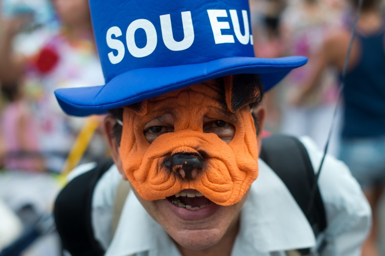A man wearing a dog-face mask takes part in the animals carnival, in Copacabana beach in Rio de Janeiro on February 03, 2013. (Chrisophe Simon/Getty Images)