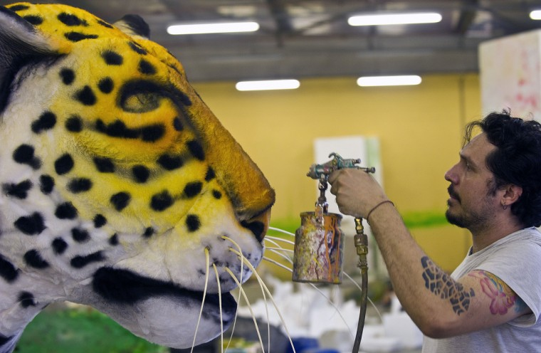 A member of Imperatriz Leopoldinense samba school paints a yaguarete effigy during preparations for the famous carnival parade at the Sambodromo, on February 4, 2013 in Rio de Janeiro. The samba schools parade will be held next February 10 and 11. (Antonio Scorza/Getty Images)
