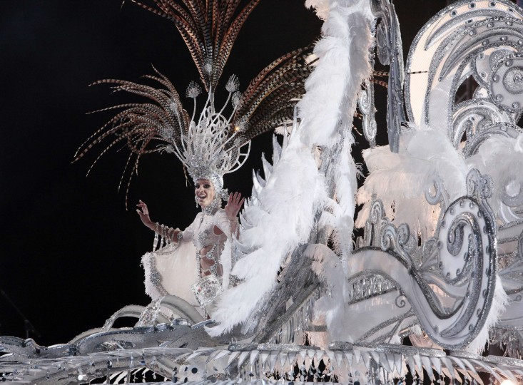 Queen of the 2013 Santa Cruz carnival Soraya Rodriguez performs in Santa Cruz de Tenerife on the Spanish Canary island of Tenerife on February 6, 2013. (Desiree Martin/Getty Images)