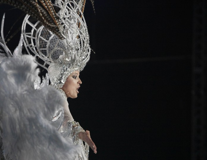 Queen of the 2013 Santa Cruz carnival Soraya Rodriguez performs in Santa Cruz de Tenerife on the Spanish Canary island of Tenerife on February 6, 2013. A(Desiree Martin/Getty Images)