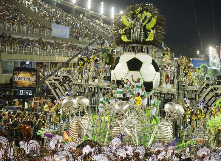 Revelers of Mocidade Independente samba school perform during the first night of Carnival parade at the Sambadrome in Rio de Janeiro, Brazil. (Antonia Scorza/Getty Images)
