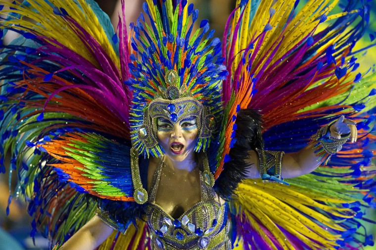 Revelers of Portela samba school perform during the first night of Carnival parade at the Sambadrome in Rio de Janeiro, Brazil. (Antonia Scorza/Getty Images)