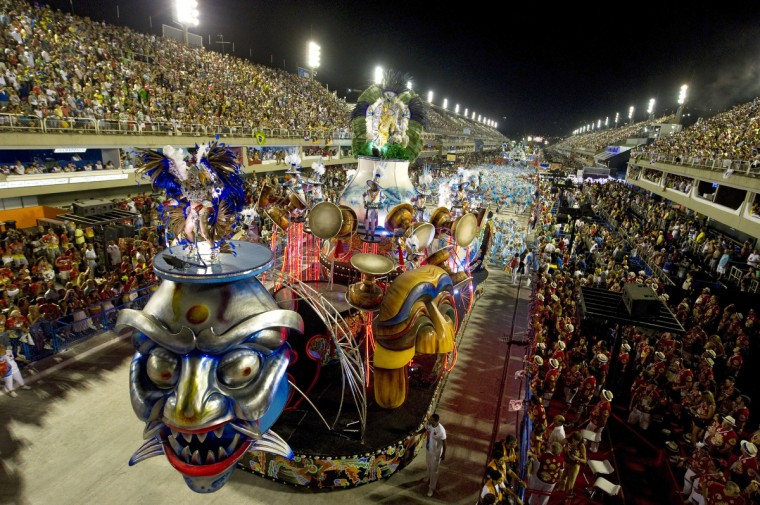 Revelers of the Inocentes de Belford-Roxo samba school perform during the first night of Carnival parade at the Sambadrome in Rio de Janeiro, Brazil. (Antonia Scorza/Getty Images)