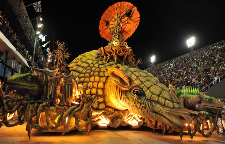 Revelers of Vila Isabel samba school performs during the second night of Carnival parades at the Sambadrome in Rio de Janeiro on February 12, 2013. (Vanderlei Almeida/Getty Images)