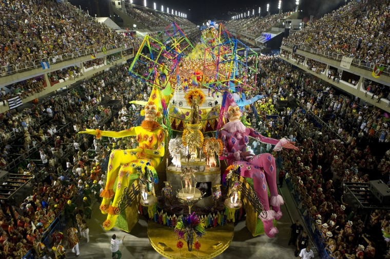 Revelers of Grande Rio samba school perform during the second night of Carnival parade at the Sambadrome in Rio de Janeiro, Brazil on February 12, 2013. (Antonio Scorza/Getty Images)