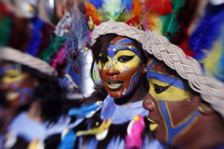 Dancers parade on during the carnival in the southeastern French city of Nice. The carnival, which ends on March 6, celebrates the King of the Five Continents for its 140th anniversary. (Valery Hache/Getty Images)