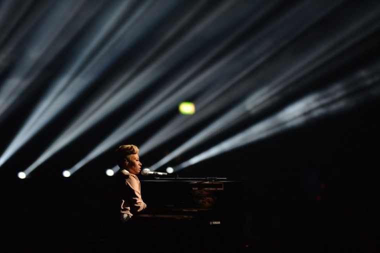 British singer-songwriter Emeli Sande performs on stage at the BRIT Awards 2013 in London. (Ben Stansall/Getty Images)