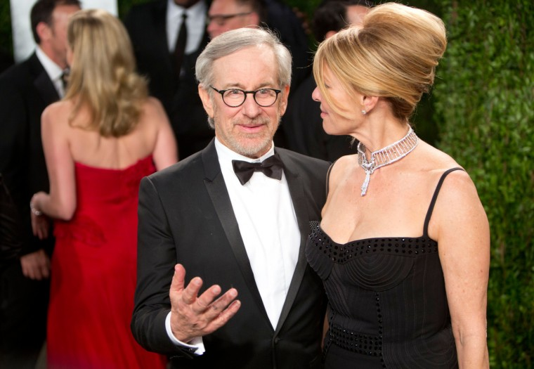 Film Director Steven Spielberg and his wife arrive for the 2013 Vanity Fair Oscar Party on February 24, 2013 in Hollywood, California. (Adrian Sanchez-Gonzalez/Getty Images)