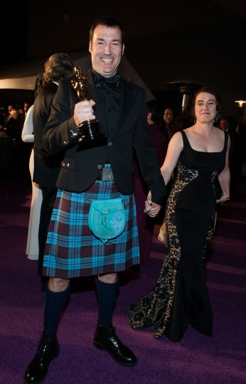Mark Andrews and Brenda Chapman, winners of the Best Animated Feature award for 'Brave,' arrive for the 2013 Governors Ball on February 24, 2013 in Hollywood, California. A(Valerie Macon/Getty Images)