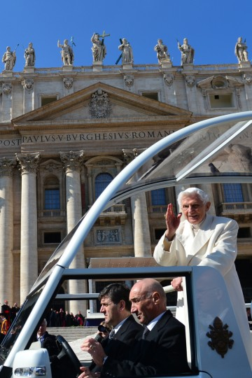 Pope Benedict XVI waves as he leaves in his papamobile at the end of his last weekly audience on February 27, 2013 at St Peter's square at the Vatican. Pope Benedict XVI will hold the last audience of his pontificate in St Peter's Square on Wednesday on the eve of his historic resignation as leader of the world's 1.2 billion Catholics. (Gabriel Bouys/Getty Images)