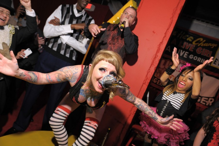 Brianna Belladonna performs at Immortal Love Pop-up Experience - Freakshow & Immortalized on February 7, 2013 in New York City. (Michael Loccisano/Getty Images for AMC)