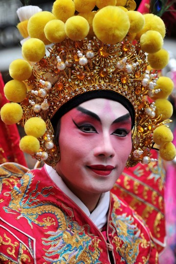 Traditional Chinese dancers in the New Year paraded on February 10, 2013 in London, England. London's Chinese community celebrate the start of the Year of The Snake with traditional dancing, music and fireworks. (Bethany Clarke/Getty Images)