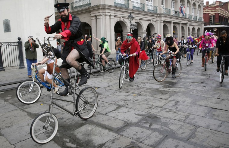 Members of the Krewe of Bikus roll down Chartres Street on Mardi Gras Day in French Quarter February 12, 2013 in New Orleans, Louisiana. (Rusty Costanza/Getty Images)