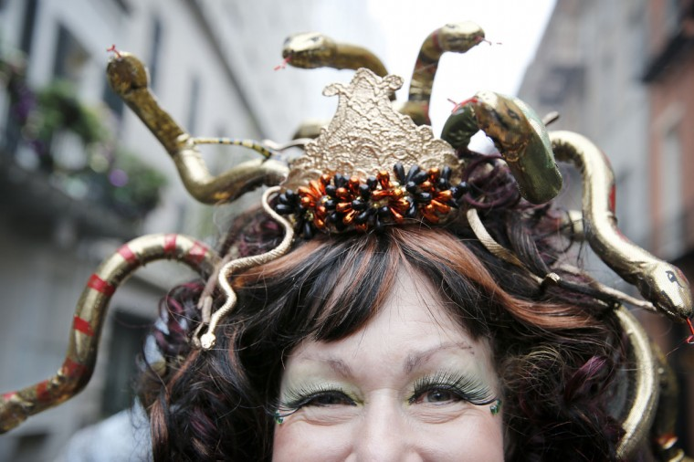 Lorraine Summers of New Orleans is dressed as Medusa on Mardi Gras Day in the French Quarter. (Rusty Costanza/Getty Images)