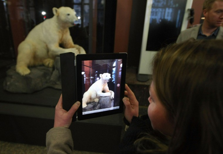 A visitor uses an Apple iPad to take a picture of a model of Knut the polar bear, featuring his original fur on display in the Natural History Museum (Naturkundemuseum) in Berlin, Germany. Until March 15, the dermoplastic model of the ursine celebrity will be on display before it joins the museum's archive, though visitors can see it once again as part of a permanent exhibition that begins in 2014. (Adam Berry/Getty Images)
