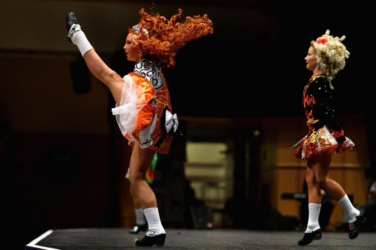 Dancers compete in the 29th All Scotland Irish Dance Championship in Glasgow, Scotland. As many 2,000 competitors are taking part in one of the world's largest Irish dancing competitions with dancers coming from as far afield as North America, Russia, Australia and South Africa. (Jeff J Mitchell/Getty Images)