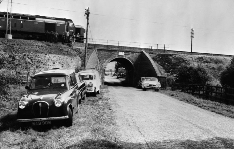August 8, 1963: The Mail Train which was stopped on a bridge during 'The Great Train Robbery' so that it could be unloaded. (Keystone/Getty Images)