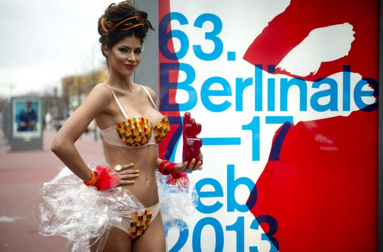 German model Micaela Schaefer wearing a gummy bear bikini poses with a giant gummy bear on the 'Boulevard of the Stars' next to a Berlinale poster in Berlin. (Odd Andersen/AFP/Getty Images)