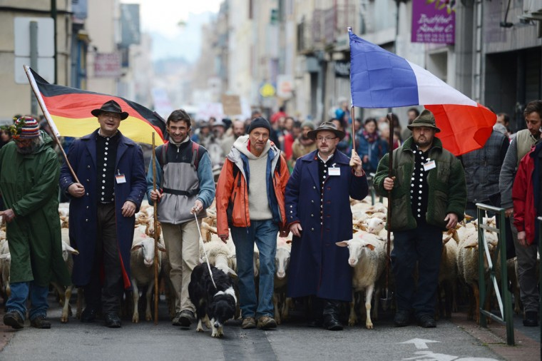 French and German shepherds demonstrate with a herd of ewes in a street of Valence, southeastern France, to protest against the electronics chip RFID (Radio Frequency Identification) system imposed on their animals. The shephards are protesting over the mandatory tracking of all of their animals with electronic chips after new European Union legislation passed to impose this on all animals born since 2010. (Philippe Desmazes/AFP/Getty Images)