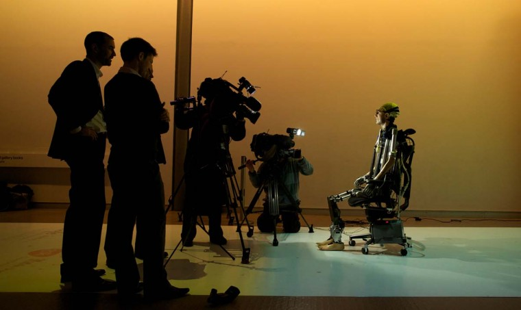 "A picture shows ""Rex"", the world's first ""bionic man"", during a photo call at the Science Museum in London on February 5, 2013. The 640,000 GBP (1 million US dollars) humanoid has a distinctly human shape and boasts prosthetic limbs, a functional artificial blood circulatory system complete with artificial blood, as well as an artificial pancreas, kidney, spleen and trachea. (Andrew Cowie/AFP/Getty Images)"