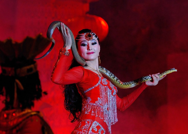 An actress performs with a snake to celebrate the coming lunar new year of China in Hetian, northwest China's Xinjiang Uygur Autonomous Region February 6, 2013. The lunar new year, or spring festival, falls on February 10. (STR/AFP/Getty Images)