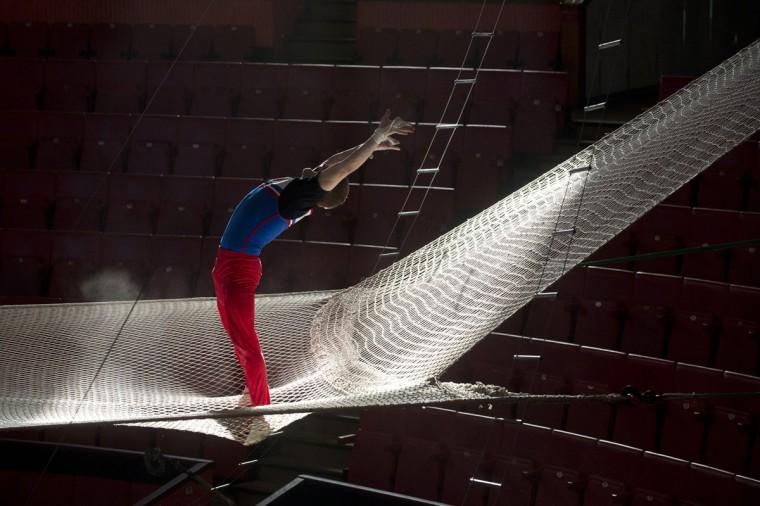 An acrobat rehearses in a circus in the Russian Black Sea resort of Sochi. (Natalia Kolesnikova/AFP/Getty Images)
