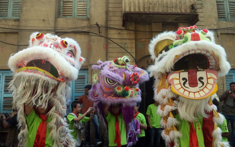 Members of the Chinese community perform a lion dance as they celebrate the Chinese New Year in Kolkata on February 10, 2013. Chinese communities worldwide are welcoming the 'Year of the Snake'. (Dibyangshu Sarkar/AFP/Getty Images)