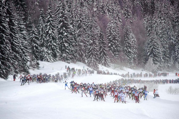 Participants compete during the Nordic Transjurassienne skiing race on February 10, 2013 in Lamoura, eastern France. (Sebastien Bozon/AFP/Getty Images)