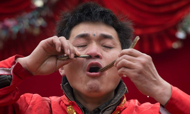 A performer passes a snake through his nose and mouth during a show at a fair as part of lunar new year festivities at the Temple of Earth park in Beijing on February 11, 2013. A billion-plus Asians are ushering in the lunar Year of the Snake with a week of festivities. (Ed Jones/AFP/Getty Images)