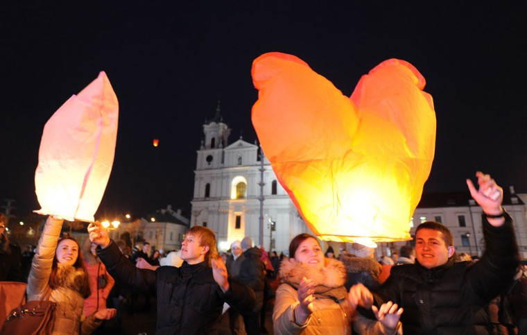Local residents release sky lanterns during a celebration of Valentine's Day in Grodno, Belarus, some 185 miles west of the capital Minsk on February 14, 2013. (Viktor Drachev/AFP/Getty Images)