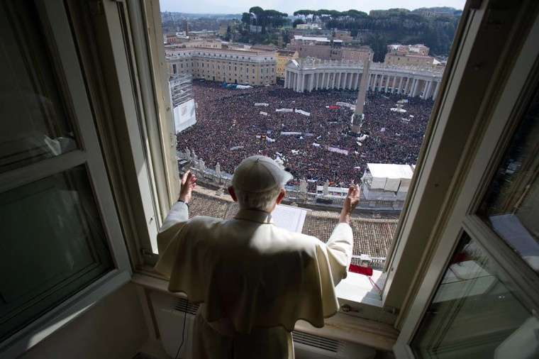 Pope Benedict XVI's leads the Angelus prayer on February 24, 2013 at the Vatican. The pontiff celebrates his last Angelus prayer at the end of a week-long spiritual retreat, ahead of his resignation on this week. (Osservatore Romano/AFP/Getty Images)