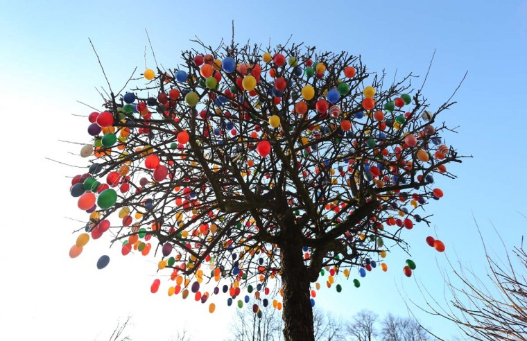 A tree decorated with colorful plastic Easter eggs is seen on February 28, 2013 in Garmisch-Partenkirchen, Germany. (Karl-Josef Hildenbrand/AFP/Getty Images)