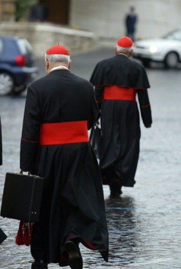 Cardinals arrive on April 11, 2005 at the Vatican for the General Congregation assembly of the Cardinals. Cardinals then started their conclave in the frescoed Sistine Chapel on April 18, planning to vote twice a day thereafter until one candidate reached a majority of two thirds plus one. (Marco Longari/AFP/Getty Images)