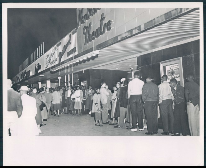 Apr. 30, 1955: In a test of Segregation laws, an interracial group of students tried to gain entrance into the Northwood theater. None were admitted. -- This photo accompanied the story 'Passive Resistance' as published in the Morning Sun. (Photographer unknown/Baltimore Sun)