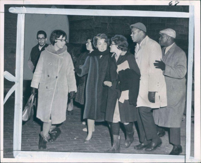 Feb. 22, 1963: Goucher College and Morgan College students leave the City Jail after being released without bail. They had taken part in demonstrations to integrate the Northwood Theater which now agrees to admit African Americans. None of the arrested demonstrators have been indicted on the trespassing charges. -- This photo was published under the headline 'Out of Jail' in the Evening Sun. (Frank Gardina/Baltimore Sun)