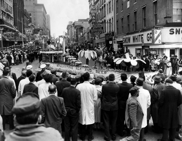 April 10, 1961 — Orioles' Opening Day 1961 Parade. Scene along the route at Howard St. and Baltimore St. (Baltimore Sun)