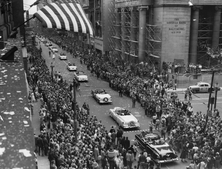 1954 — Orioles' Opening Day 1954 Parade on Baltimore Street. (Baltimore Sun)