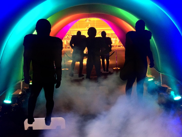 A display replicating players coming out of a fog shrouded tunnel, such as at M&T Stadium, was on display at the NFL Fan Experience. Scenes in New Orleans around the upcoming Super Bowl. (Gene Sweeney Jr./Baltimore Sun)