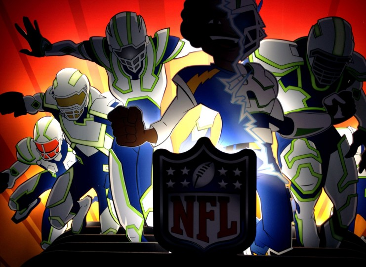 A colorful display of animated style football players is shown at the NFL Fan Experience. (Gene Sweeney Jr./Baltimore Sun)
