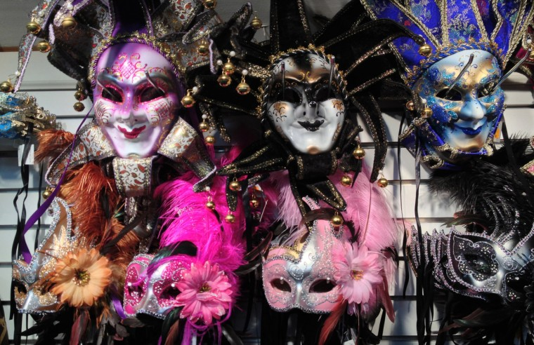 Masks for the properly dressed Mardi Gras attendee for sale along Bourbon Street. Scenes in New Orleans around the upcoming Super Bowl. (Gene Sweeney Jr./ Baltimore Sun Staff)