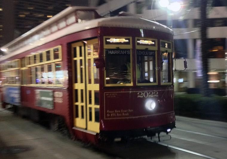 A street car speeds through downtown New Orleans. (Gene Sweeney Jr./Baltimore Sun)