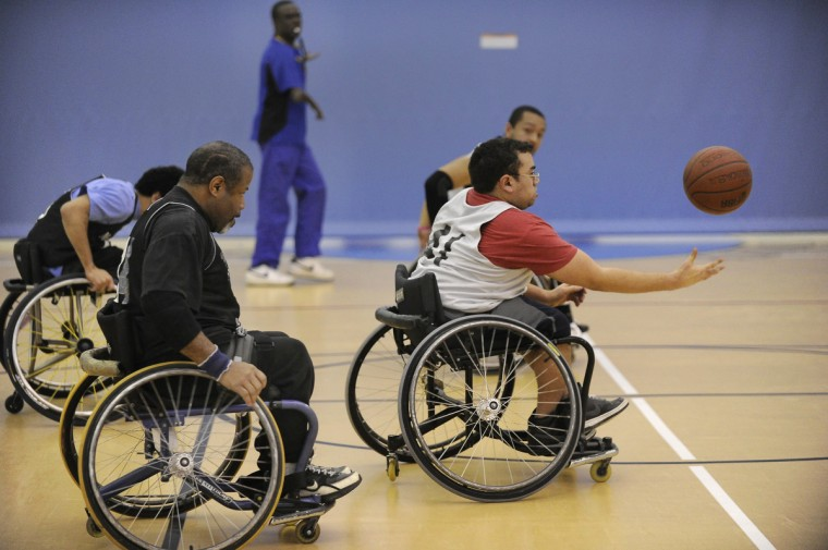 Theodore Luster, Jr. lead the charge down court during practice of the Maryland Ravens. (Gene Sweeney Jr./Baltimore Sun)