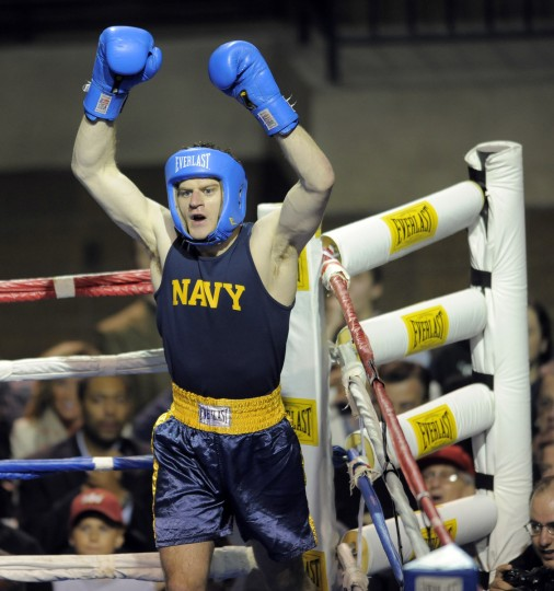 Midshipman Sean Hunt wins the 165 pound weight class with a knockout. The United States Naval Academy holds its 72nd annual Brigade Boxing Championships held at Alumni Hall. (Lloyd Fox/Baltimore Sun)