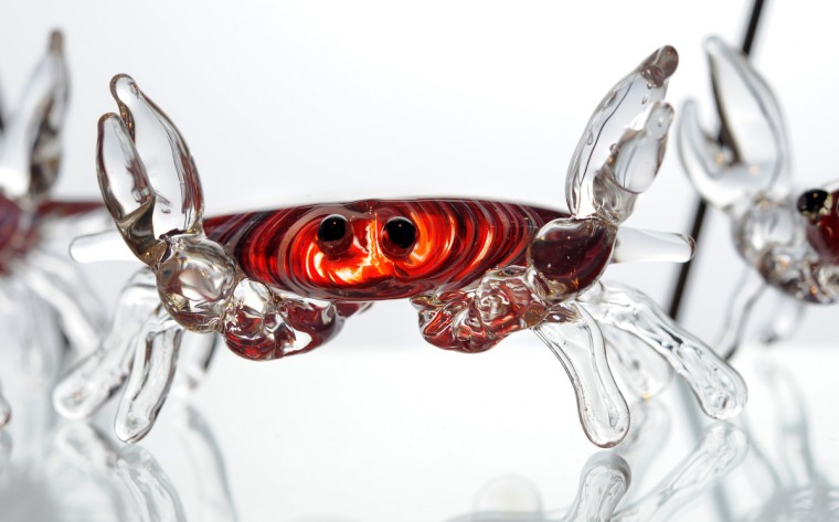 A glass crab made by Tim McFadden. McFadden has been blowing glass for 12 years. (Lloyd Fox/Baltimore Sun)